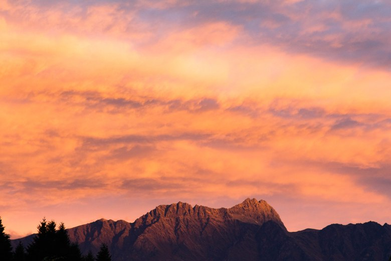 Last light in Queenstown New Zealand